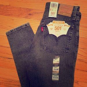 Levi's 501 stretch skinny jeans in grey. NWT!